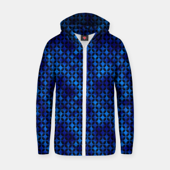 Thumbnail image of 4 Leaf Quatrefoils in Black and Classic Blue Vintage Faux Foil Art Deco Vintage Foil Pattern Zip up hoodie, Live Heroes