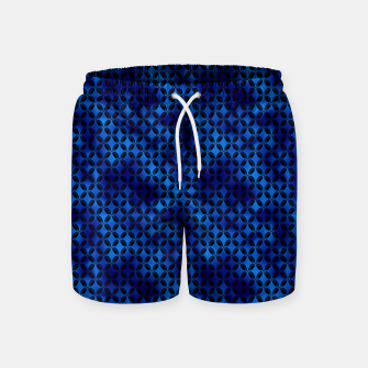 Thumbnail image of 4 Leaf Quatrefoils in Black and Classic Blue Vintage Faux Foil Art Deco Vintage Foil Pattern Swim Shorts, Live Heroes