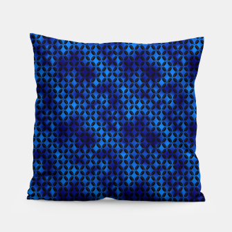 Miniaturka 4 Leaf Quatrefoils in Black and Classic Blue Vintage Faux Foil Art Deco Vintage Foil Pattern Pillow, Live Heroes