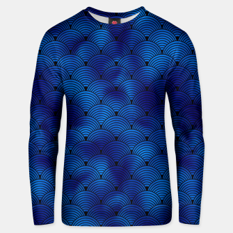 Thumbnail image of Ringed Scales in Black and Classic Blue Vintage Faux Foil Art Deco Vintage Foil Pattern Unisex sweater, Live Heroes