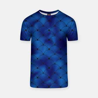 Miniaturka Ringed Scales in Black and Classic Blue Vintage Faux Foil Art Deco Vintage Foil Pattern T-shirt, Live Heroes