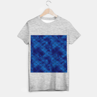 Thumbnail image of Ringed Scales in Black and Classic Blue Vintage Faux Foil Art Deco Vintage Foil Pattern T-shirt regular, Live Heroes