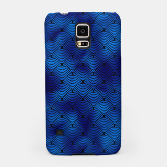 Miniaturka Ringed Scales in Black and Classic Blue Vintage Faux Foil Art Deco Vintage Foil Pattern Samsung Case, Live Heroes