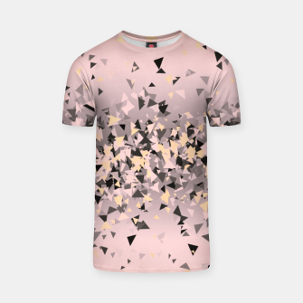 Thumbnail image of Strawberry dreams and pieces of dark chocolate, delicate blush pink geometric explosion T-shirt, Live Heroes