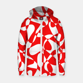 Miniaturka Abstract pattern - red and white. Zip up hoodie, Live Heroes