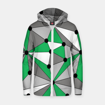 Thumbnail image of Abstract geometric pattern - green and gray. Zip up hoodie, Live Heroes