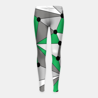 Miniatur Abstract geometric pattern - green and gray. Girl's leggings, Live Heroes