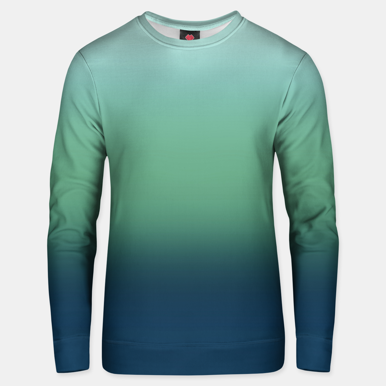 Image of Blue green blue ombre green bottle color sea ocean blurred Unisex sweater - Live Heroes