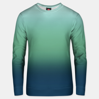 Blue green blue ombre green bottle color sea ocean blurred Unisex sweater thumbnail image