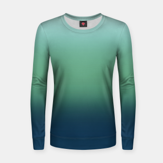 Blue green blue ombre green bottle color sea ocean blurred Women sweater thumbnail image