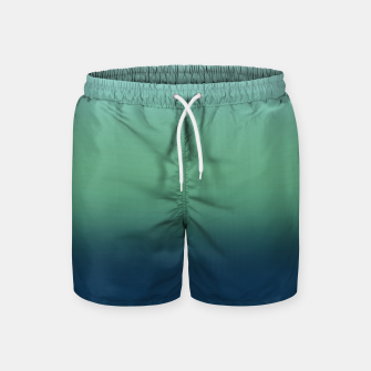 Imagen en miniatura de Blue green blue ombre green bottle color sea ocean blurred Swim Shorts, Live Heroes