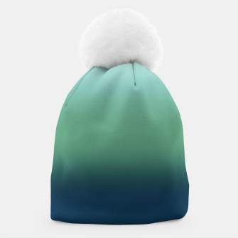 Blue green blue ombre green bottle color sea ocean blurred Beanie thumbnail image