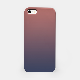 Dark navy brown duotone gradient ombre stylish color pure soft light monochrome iPhone Case thumbnail image