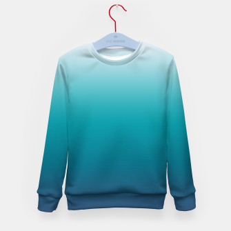Imagen en miniatura de Pastel deep blue navy gray duotone sea ocean water gradient ombre summer stylish color pure soft light monochrome surfing Kid's sweater, Live Heroes