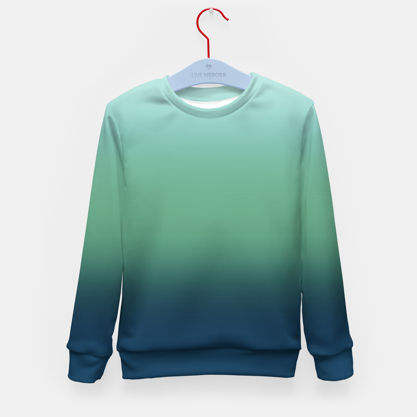Image of Blue green blue ombre green bottle color sea ocean blurred Kid's sweater - Live Heroes