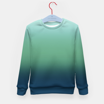 Blue green blue ombre green bottle color sea ocean blurred Kid's sweater thumbnail image