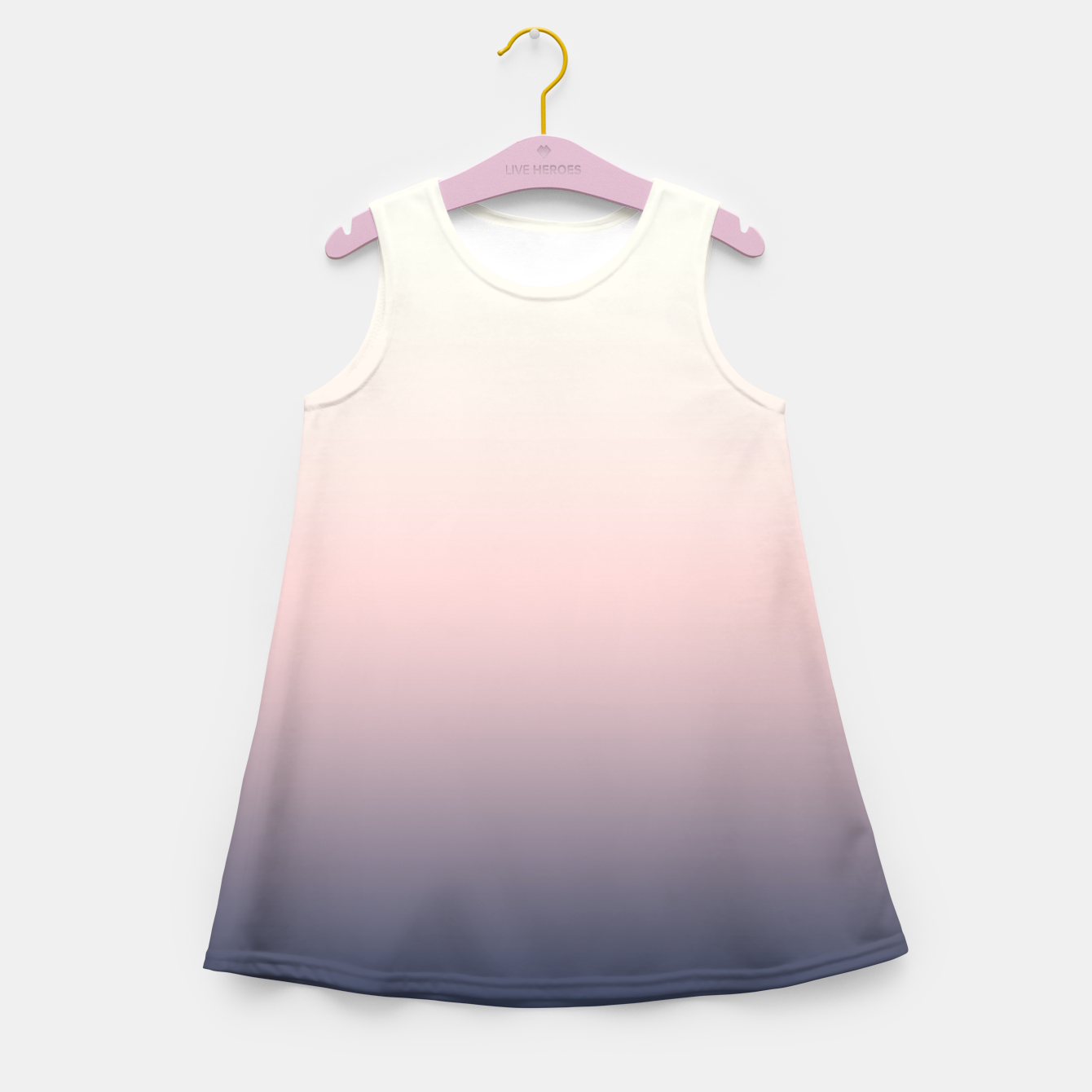 Foto Pastel navy pink beige gradient ombre summer stylish color pure soft light monochrome Girl's summer dress - Live Heroes