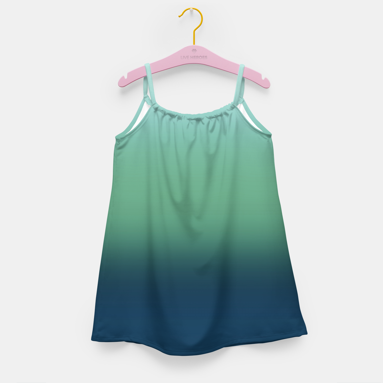 Image of Blue green blue ombre green bottle color sea ocean blurred Girl's dress - Live Heroes