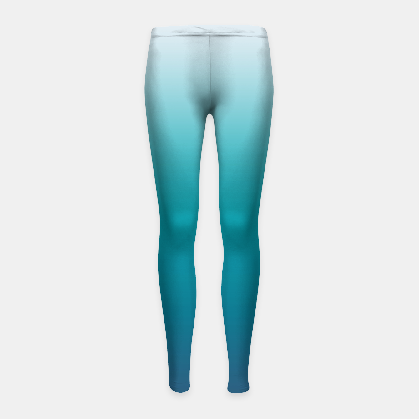 Image of Pastel deep blue navy gray duotone sea ocean water gradient ombre summer stylish color pure soft light monochrome surfing Girl's leggings - Live Heroes