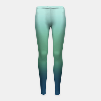 Thumbnail image of Blue green blue ombre green bottle color sea ocean blurred Girl's leggings, Live Heroes