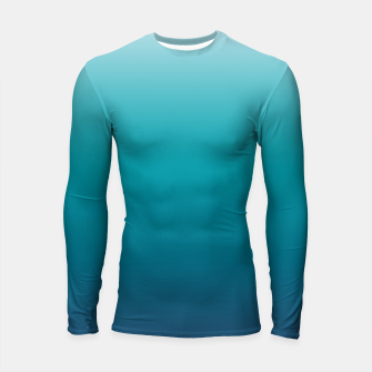 Imagen en miniatura de Pastel deep blue navy gray duotone sea ocean water gradient ombre summer stylish color pure soft light monochrome surfing Longsleeve rashguard , Live Heroes