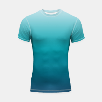 Imagen en miniatura de Pastel deep blue navy gray duotone sea ocean water gradient ombre summer stylish color pure soft light monochrome surfing Shortsleeve rashguard, Live Heroes