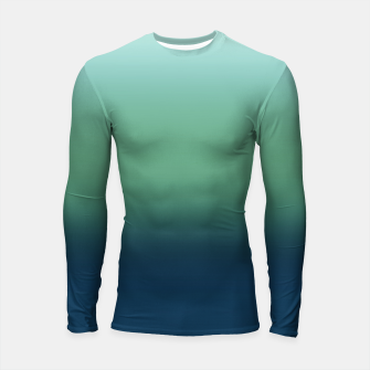Blue green blue ombre green bottle color sea ocean blurred Longsleeve rashguard  thumbnail image