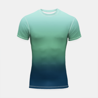 Thumbnail image of Blue green blue ombre green bottle color sea ocean blurred Shortsleeve rashguard, Live Heroes