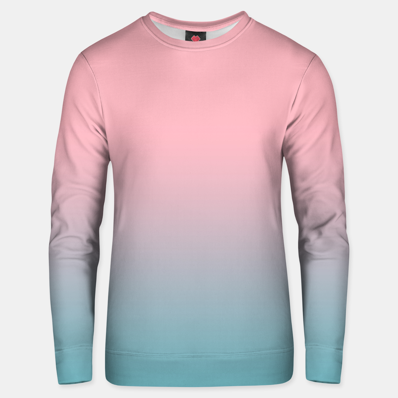 Image of Pastel pink blue duotone gradient ombre summer stylish color pure soft light cotton candy bubble gum Unisex sweater - Live Heroes