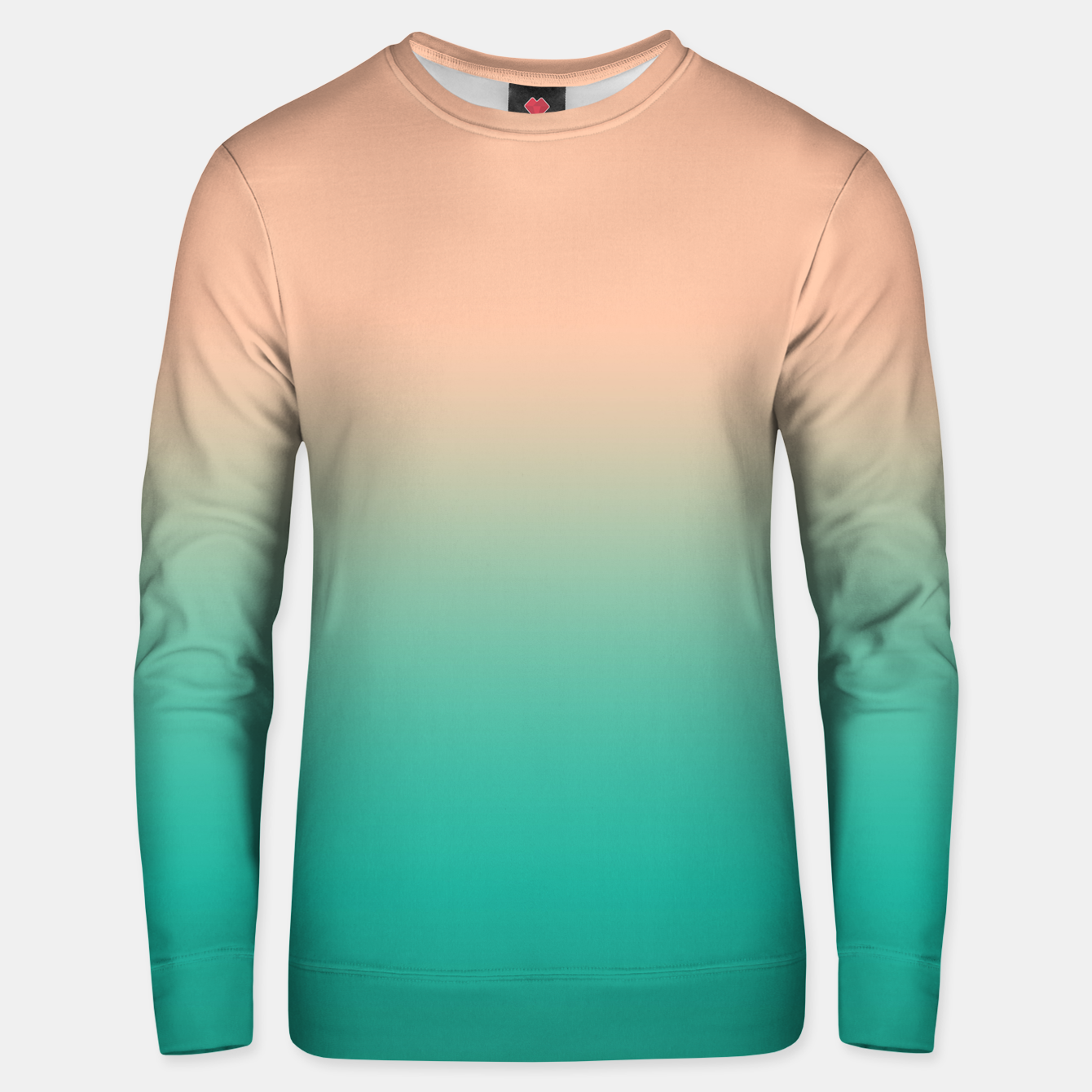 Image of Pastel blush coral bottle green duotone gradient ombre summer stylish color pure soft light monochrome Unisex sweater - Live Heroes