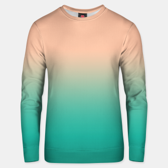 Pastel blush coral bottle green duotone gradient ombre summer stylish color pure soft light monochrome Unisex sweater Bild der Miniatur