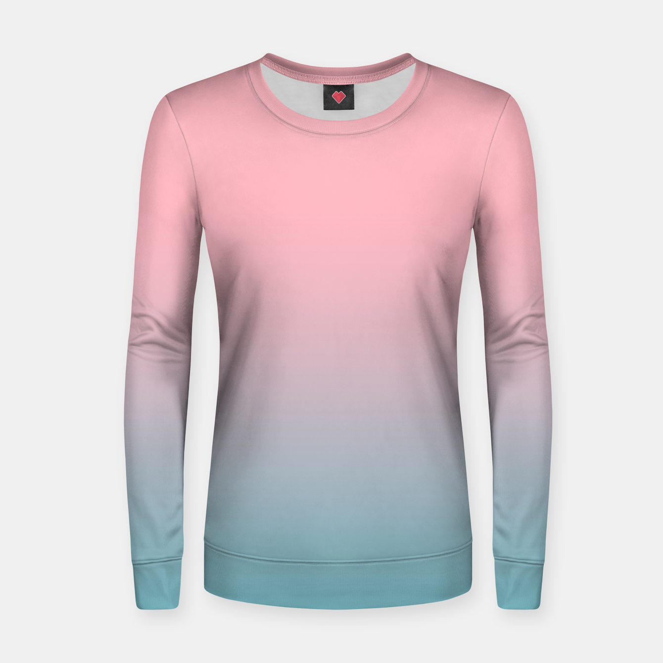 Image of Pastel pink blue duotone gradient ombre summer stylish color pure soft light cotton candy bubble gum Women sweater - Live Heroes