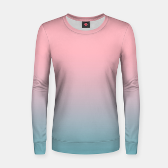 Pastel pink blue duotone gradient ombre summer stylish color pure soft light cotton candy bubble gum Women sweater thumbnail image