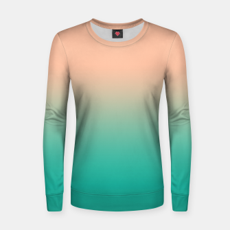 Pastel blush coral bottle green duotone gradient ombre summer stylish color pure soft light monochrome Women sweater Bild der Miniatur