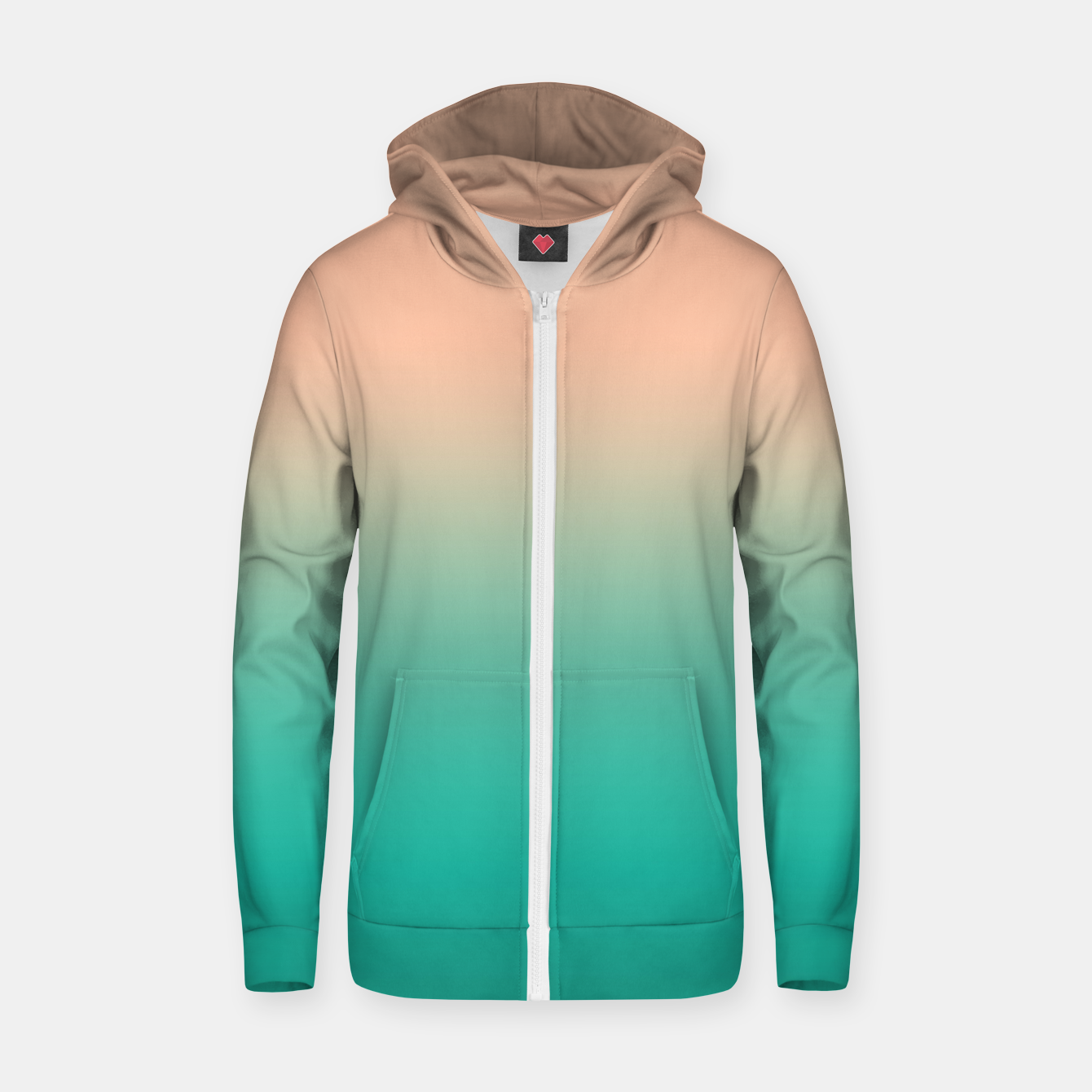 Image of Pastel blush coral bottle green duotone gradient ombre summer stylish color pure soft light monochrome Zip up hoodie - Live Heroes