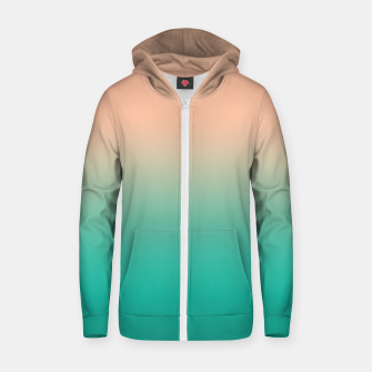 Pastel blush coral bottle green duotone gradient ombre summer stylish color pure soft light monochrome Zip up hoodie thumbnail image