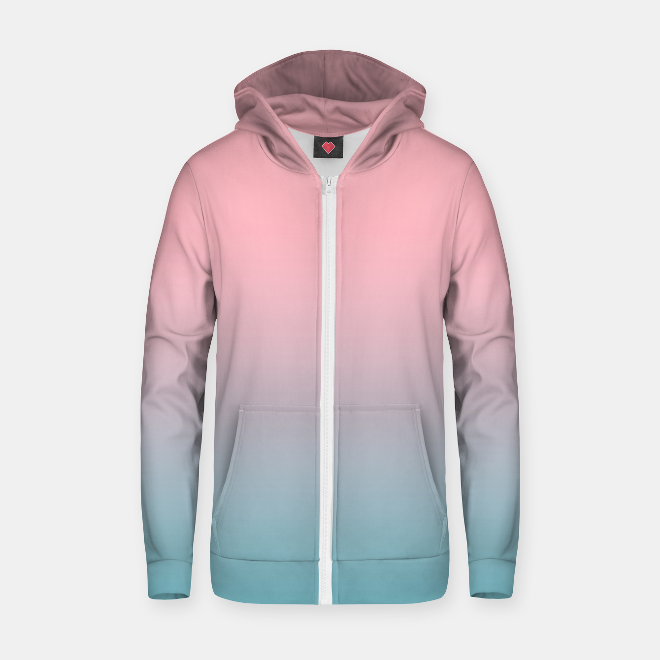Foto Pastel pink blue duotone gradient ombre summer stylish color pure soft light cotton candy bubble gum Zip up hoodie - Live Heroes
