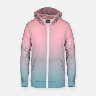 Pastel pink blue duotone gradient ombre summer stylish color pure soft light cotton candy bubble gum Zip up hoodie thumbnail image