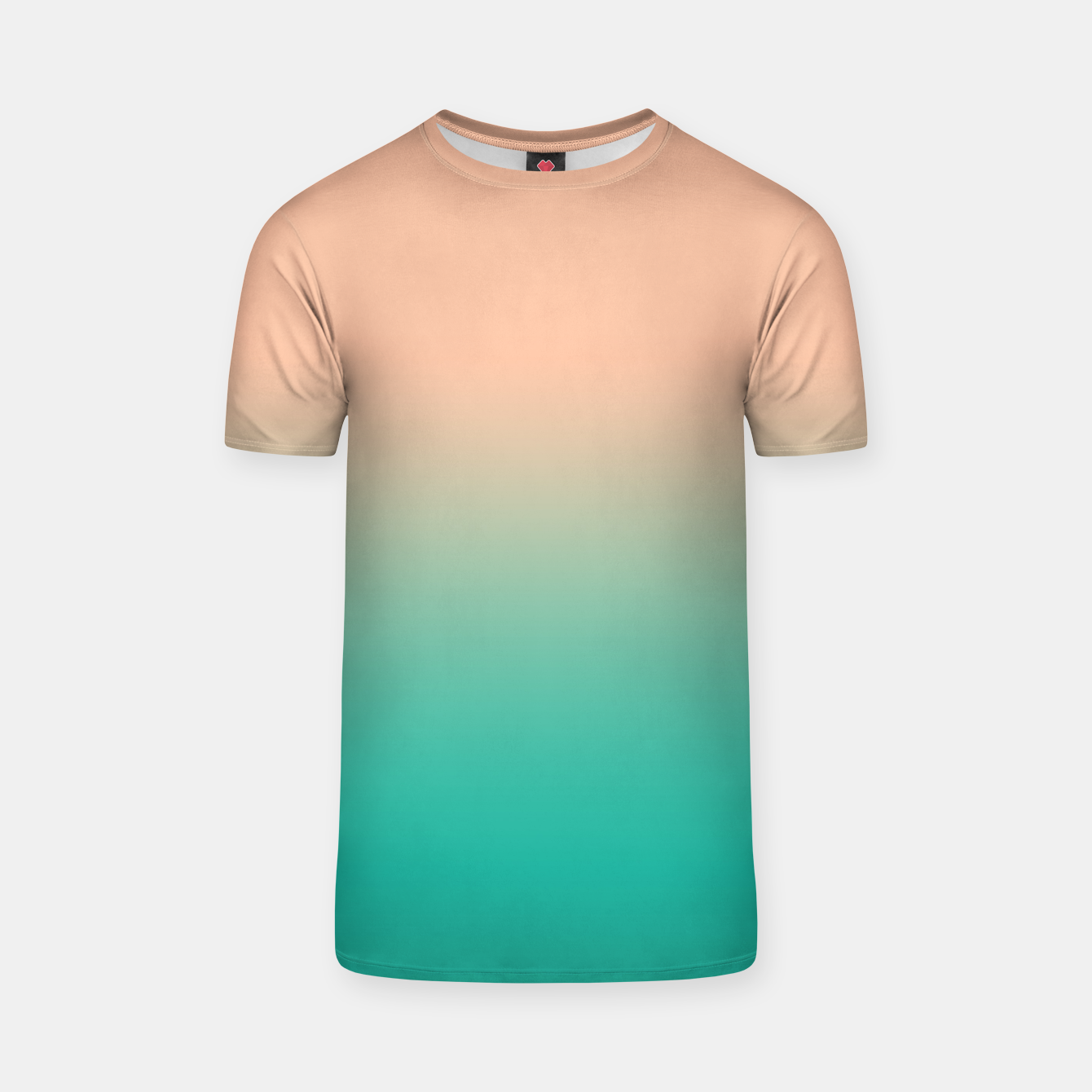 Image of Pastel blush coral bottle green duotone gradient ombre summer stylish color pure soft light monochrome T-shirt - Live Heroes