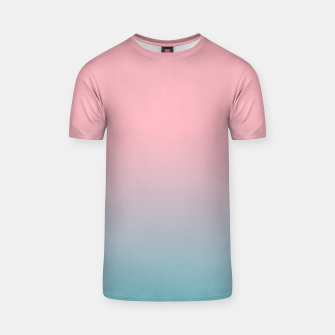 Thumbnail image of Pastel pink blue duotone gradient ombre summer stylish color pure soft light cotton candy bubble gum T-shirt, Live Heroes