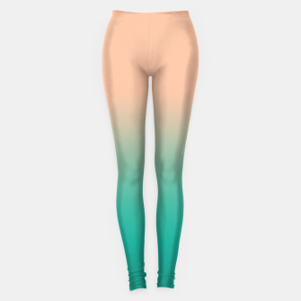 Pastel blush coral bottle green duotone gradient ombre summer stylish color pure soft light monochrome Leggings thumbnail image