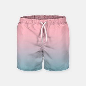 Thumbnail image of Pastel pink blue duotone gradient ombre summer stylish color pure soft light cotton candy bubble gum Swim Shorts, Live Heroes