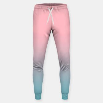 Pastel pink blue duotone gradient ombre summer stylish color pure soft light cotton candy bubble gum Sweatpants thumbnail image