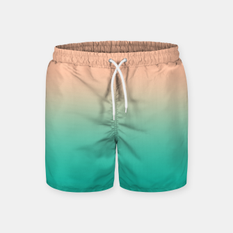 Pastel blush coral bottle green duotone gradient ombre summer stylish color pure soft light monochrome Swim Shorts thumbnail image
