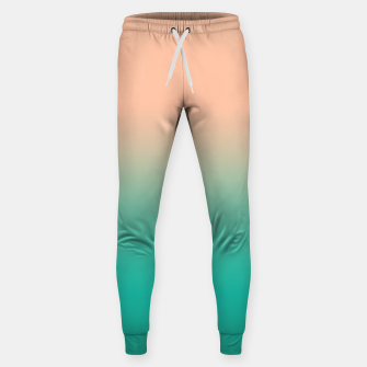 Pastel blush coral bottle green duotone gradient ombre summer stylish color pure soft light monochrome Sweatpants Bild der Miniatur