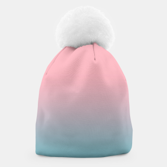 Pastel pink blue duotone gradient ombre summer stylish color pure soft light cotton candy bubble gum Beanie thumbnail image