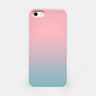 Pastel pink blue duotone gradient ombre summer stylish color pure soft light cotton candy bubble gum iPhone Case thumbnail image