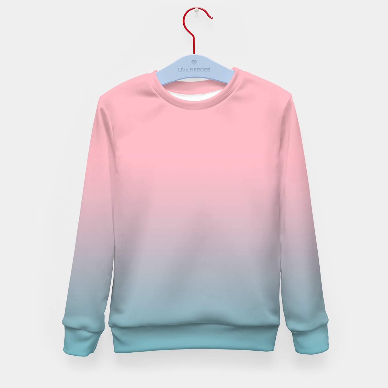 Image of Pastel pink blue duotone gradient ombre summer stylish color pure soft light cotton candy bubble gum Kid's sweater - Live Heroes