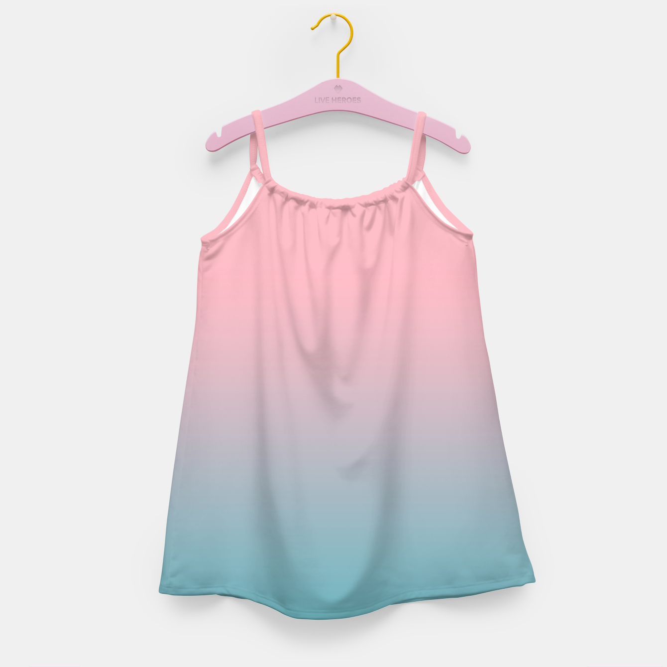 Image of Pastel pink blue duotone gradient ombre summer stylish color pure soft light cotton candy bubble gum Girl's dress - Live Heroes