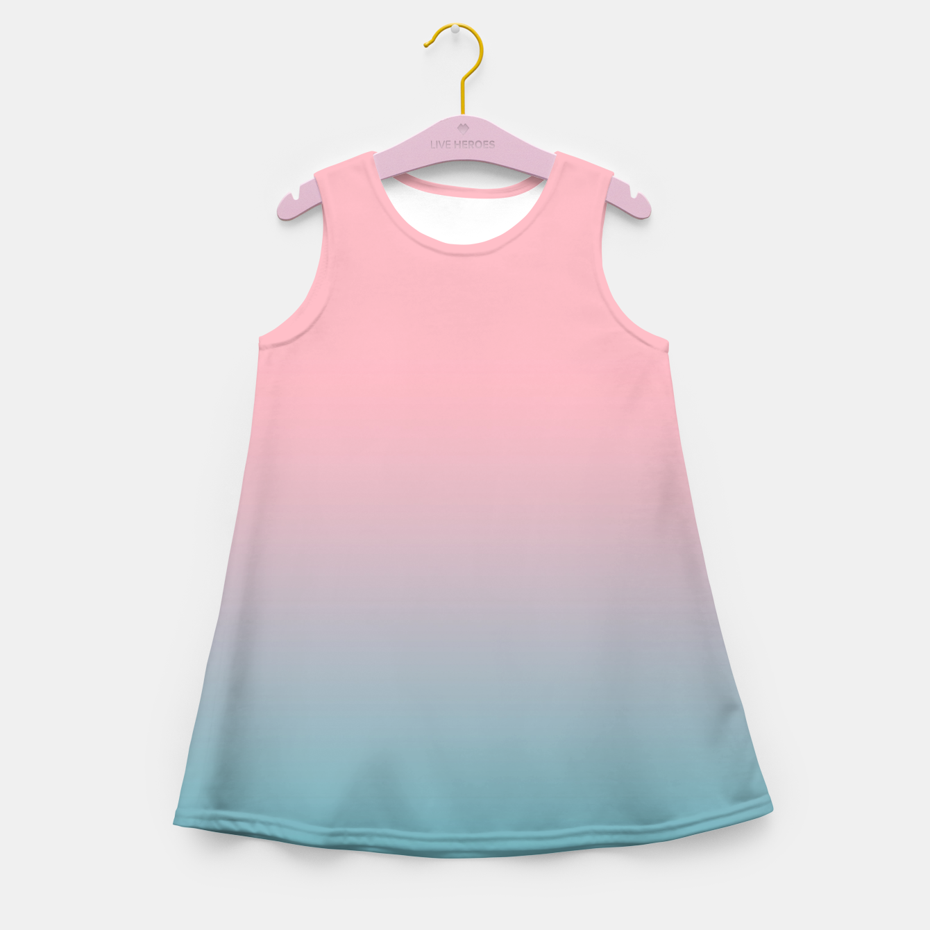 Image of Pastel pink blue duotone gradient ombre summer stylish color pure soft light cotton candy bubble gum Girl's summer dress - Live Heroes